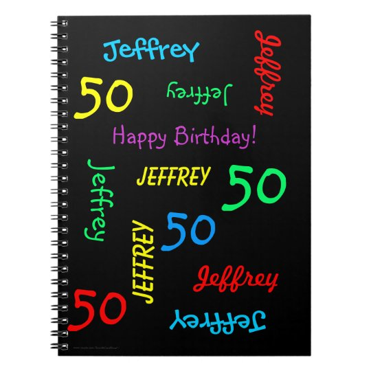 50th Birthday Party Guest Book, Repeat Name Black