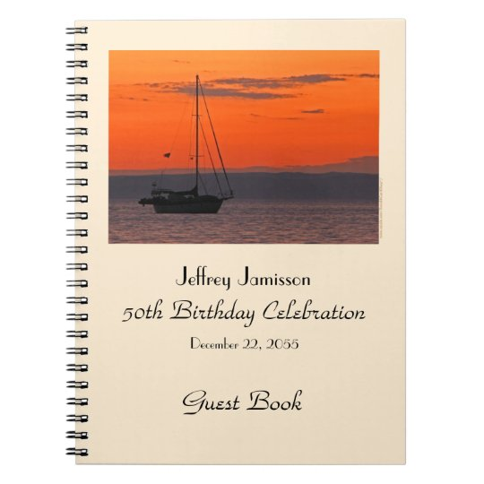 50th Birthday Party Guest Book, Sailboat at Sunset Notebooks