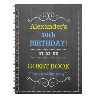 50th Birthday Party Guest Book- Spiral Notebook