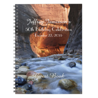 50th Birthday Party Guest Book, Zion Narrows Spiral Notebook