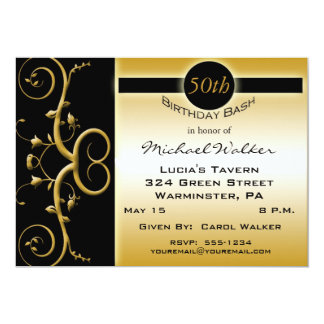 50th Birthday Party in Elegant Black and Gold Card