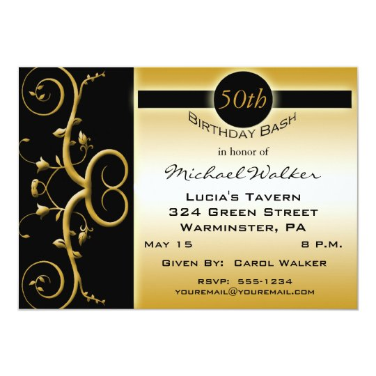 50th Birthday Party in Elegant Black and Gold