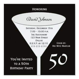 50th Birthday Party Invitation 50 in Black