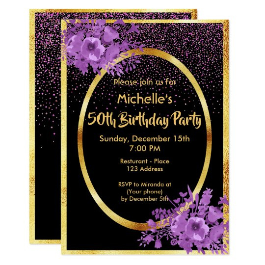 Gold And Black 50th Birthday Invitations & Announcements
