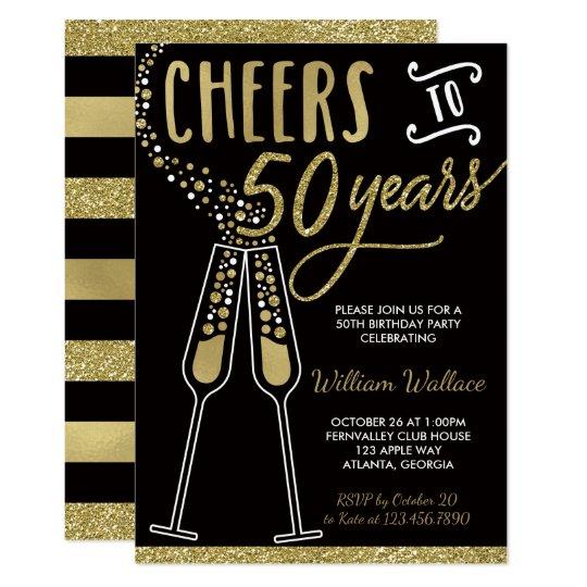 50th Birthday Party Invitation, Gold, Black Card