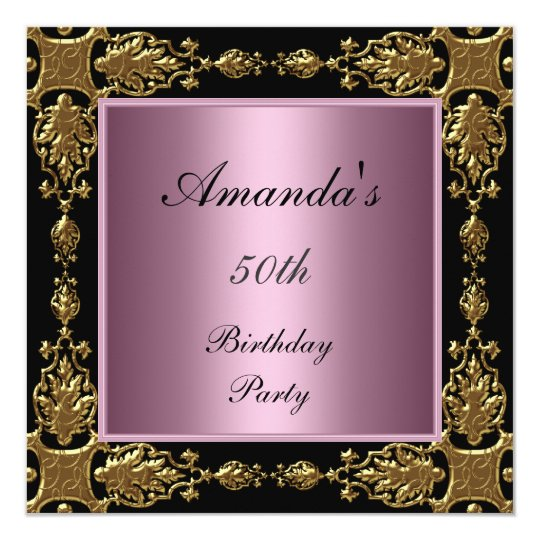 50th Birthday Party Invitation pink black gold
