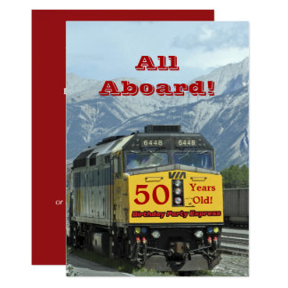 50th Birthday Party Invitation Railroad Train