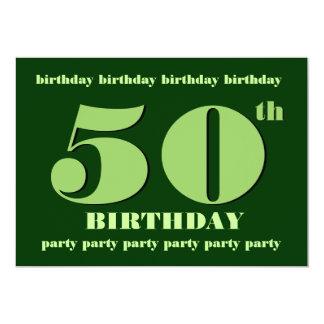 "50th Birthday Party Invitation Template Green 5"" X 7"" Invitation Card"