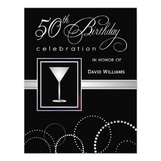 50th Birthday Party Invitations - Black and Silver