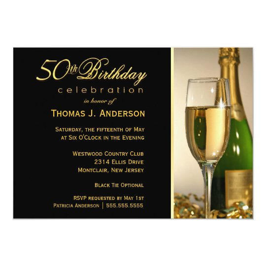 50th Birthday Party Invitations - Black Tie