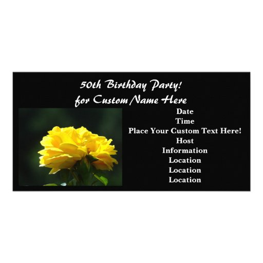50th Birthday Party! Invitations Black Yellow Rose Photo Card Template