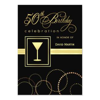"50th Birthday Party Invitations - Contemporary 5"" X 7"" Invitation Card"