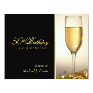 "50th Birthday Party Invitations - Corporate Style 4.25"" X 5.5"" Invitation Card"