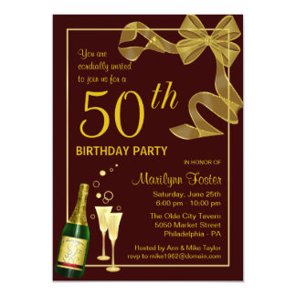 """50th Birthday Party Invitations Customize the Year 5"""" X 7"""" Invitation Card"""