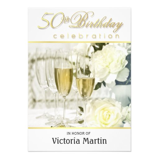 50th Birthday Party Invitations - For Her