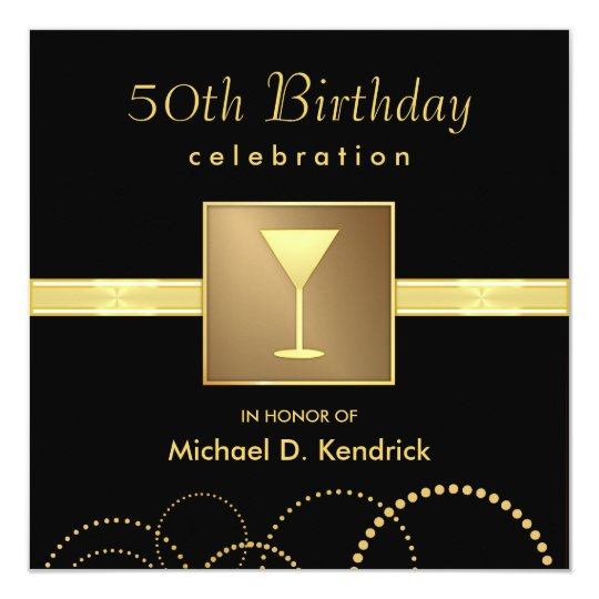 50th Birthday Party Invitations Formal Black Gold