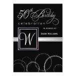 50th Birthday Party Invitations - Silver Monogram 13 Cm X 18 Cm Invitation Card