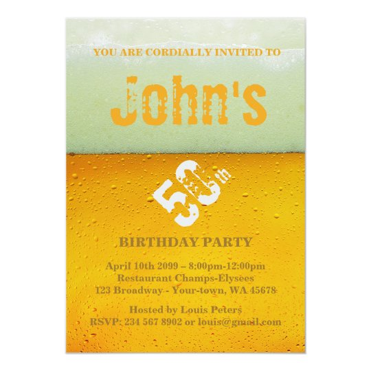 50th,Birthday Party Man,Invitation Fresh Beer Card