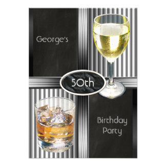 50th Birthday Party Mens Drinks Chalkboard Black Announcements