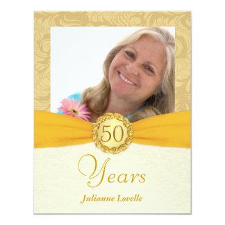 "50th Birthday Party - Monogram Photo Invites 4.25"" X 5.5"" Invitation Card"