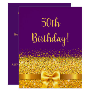 50th birthday party on purple gold bow sparkle card