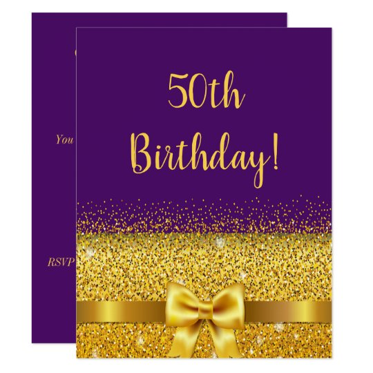 50th Birthday Party On Purple Gold Bow Sparkle Invitation
