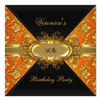 50th Birthday Party Orange Gold Black Damask 13 Cm X 13 Cm Square Invitation Card