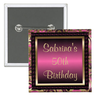 50th Birthday Party   Pink Metallic & Gold 15 Cm Square Badge