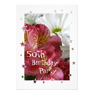50th Birthday Party-Pretty Floral-customize Custom Announcement