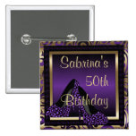 50th Birthday Party | Purple Leopard High Heels 15 Cm Square Badge