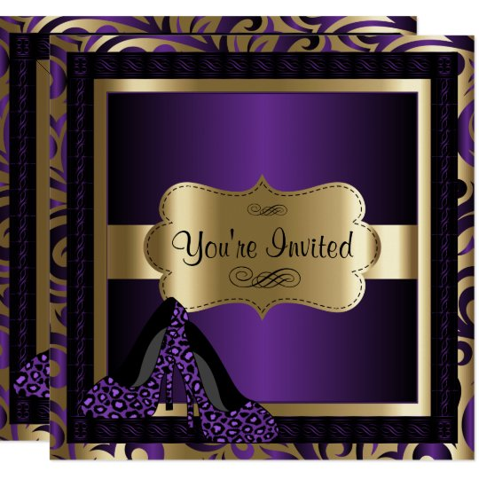 50th Birthday Party | Purple Leopard High Heels