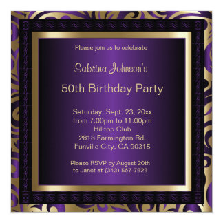 50th Birthday Party | Purple Metallic & Gold 13 Cm X 13 Cm Square Invitation Card