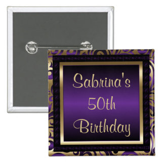 50th Birthday Party | Purple Metallic & Gold 15 Cm Square Badge