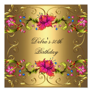 50th Birthday Party Red Black Gold Pink Flowers 13 Cm X 13 Cm Square Invitation Card