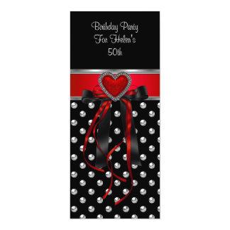 50th Birthday Party Red Heart Black Silver Long 10 Cm X 24 Cm Invitation Card