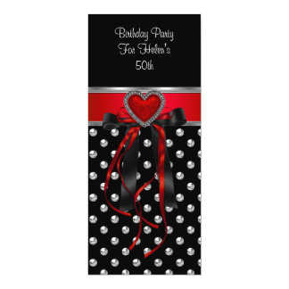50th Birthday Party Red Heart Black Silver Long Card