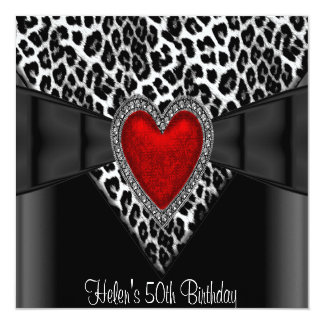 50th Birthday Party Red Heart Leopard Black White Card