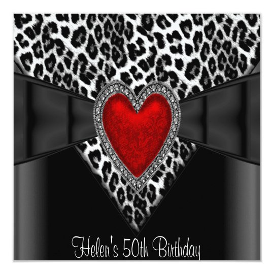 50th Birthday Party Red Heart Leopard Black White