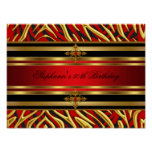 50th Birthday Party Red Zebra Gold Black Poster