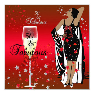 50th Birthday Party Retro Diva Art deco Red Black 13 Cm X 13 Cm Square Invitation Card