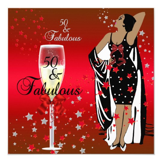 50th Birthday Party Retro Diva Art deco Red