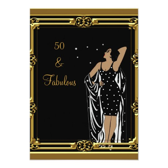50th Birthday Party Retro Diva deco Black White