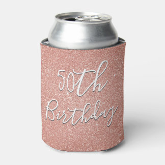 50th Birthday Party Rose Gold Blush Pink Glitter Can Cooler