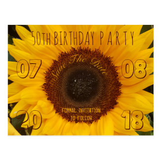 50th Birthday Party Save The Date Sunflower Postcard