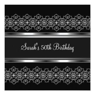 50th Birthday Party Silver on Silver Lace Black 13 Cm X 13 Cm Square Invitation Card