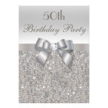 50th Birthday Party Silver Sequins, Bow & Diamond Announcements