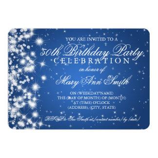 50th Birthday Party Sparkle 2 Blue 13 Cm X 18 Cm Invitation Card
