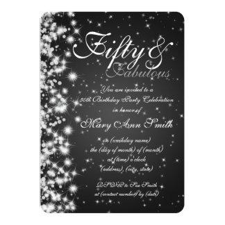50th Birthday Party Sparkle Black Card