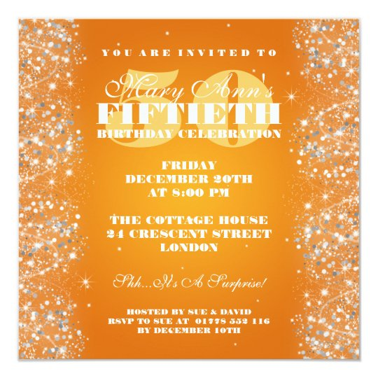50TH Birthday Party Sparkling Glitter Orange Card