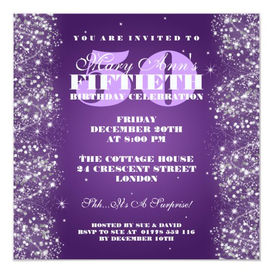 50TH Birthday Party Sparkling Glitter Purple Card